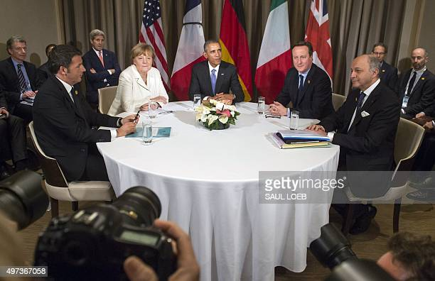 Italian Prime Minister Matteo Renzi German Chancelor Angela Merkel US President Barack Obama British Prime Minister David Cameron and French Foreign...
