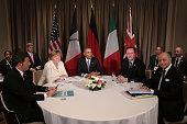 Italian Prime Minister Matteo Renzi Germany's Chancellor Angela Merkel US President Barack Obama British Prime Minister David Cameron and French...