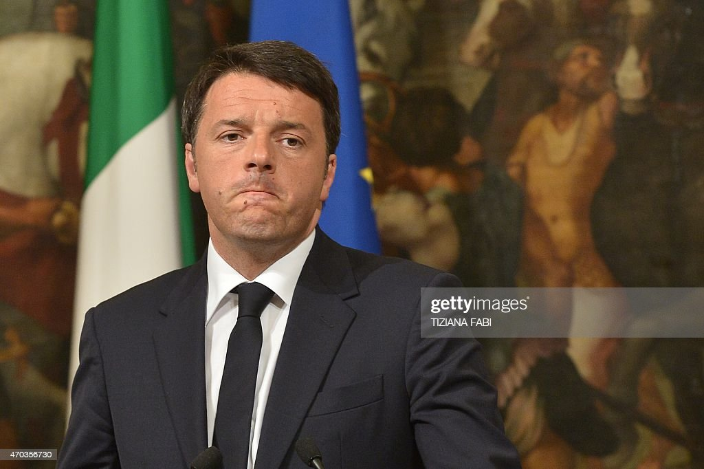 Italian Prime Minister <a gi-track='captionPersonalityLinkClicked' href=/galleries/search?phrase=Matteo+Renzi&family=editorial&specificpeople=6689301 ng-click='$event.stopPropagation()'>Matteo Renzi</a> gives a press conference focused on the shipwreck of migrants last night off the Libyan coast, on April 19, 2015 in Rome. Prime Minister <a gi-track='captionPersonalityLinkClicked' href=/galleries/search?phrase=Matteo+Renzi&family=editorial&specificpeople=6689301 ng-click='$event.stopPropagation()'>Matteo Renzi</a> said Rome would be seeking the extraordinary meeting after up to 700 people were feared to have drowned when a boat carrying them towards Italy capsized off Libya. 'We are working to ensure this meeting can be held by the end of the week. It has to be a priority,' Renzi told a press conference.