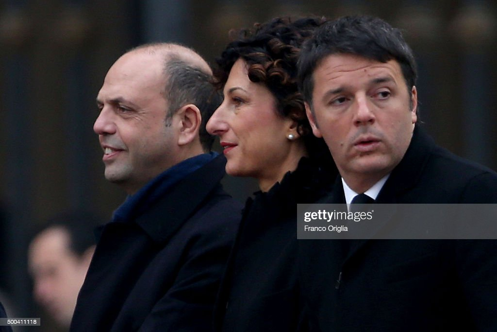 Italian Prime minister Matteo Renzi his wife Agnese Renzi and minister of interior Angelino Alfano attend the holy Mass and opening of the Holy Door...