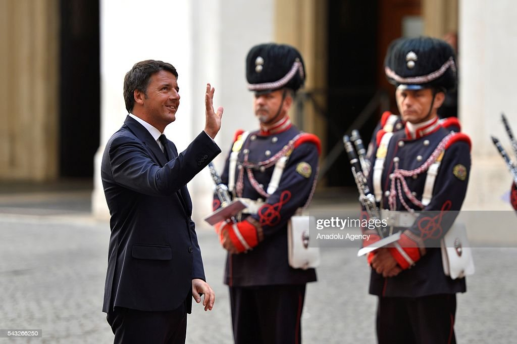 Italian Prime Minister Matteo Renzi is seen at the courtyard of the Palazzo Chigi before he welcomes Israeli Prime Minister Benjamin Netanyahu with an official ceremony in Rome, Italy on June 27, 2016.