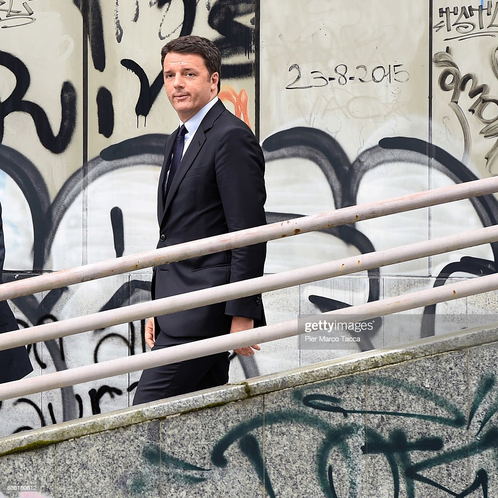 Italian Prime Minister <a gi-track='captionPersonalityLinkClicked' href=/galleries/search?phrase=Matteo+Renzi&family=editorial&specificpeople=6689301 ng-click='$event.stopPropagation()'>Matteo Renzi</a> leaves the rally in support of Democratic candidate for mayor of Milan, Giuseppe Sala, on May 31, 2016 in Milan, Italy. The Milan mayoral elections are due to take place on June 5, 2016.