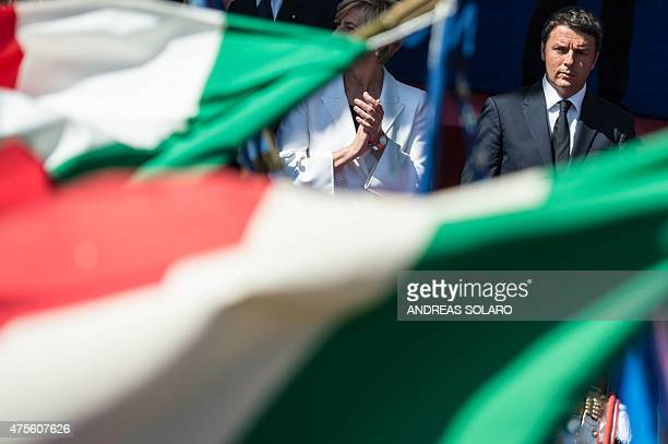 Italian prime minister Matteo Renzi looks on during the military parade at Via dei Fori Imperiali avenue for the celebration marking the country's...