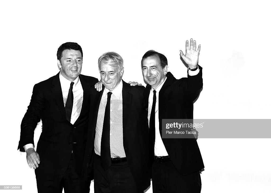 Italian Prime Minister <a gi-track='captionPersonalityLinkClicked' href=/galleries/search?phrase=Matteo+Renzi&family=editorial&specificpeople=6689301 ng-click='$event.stopPropagation()'>Matteo Renzi</a>, Mayor of Milan <a gi-track='captionPersonalityLinkClicked' href=/galleries/search?phrase=Giuliano+Pisapia&family=editorial&specificpeople=4173756 ng-click='$event.stopPropagation()'>Giuliano Pisapia</a> and Giuseppe Sala candidate for mayor of Milan attend a rally in support of Democratic candidate for mayor of Milan, Giuseppe Sala, on May 31, 2016 in Milan, Italy. The Milan mayoral elections are due to take place on June 5, 2016.