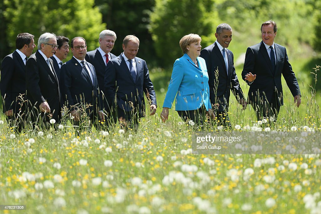 Italian Prime Minister Matteo Renzi, President of the European Commission Jean-Claude Juncker, Japanese Prime Minister Shinzo Abe, French President Francois Hollande, Canadian Prime Minister Stephen Harper, President of the European Council Donald Tusk, German Chancellor Angela Merkel, U.S. President Barack Obama and British Prime Minister David Cameron arrive for the group photo at the summit of G7 nations at Schloss Elmau on June 7, 2015 near Garmisch-Partenkirchen, Germany. In the course of the two-day summit G7 leaders are scheduled to discuss global economic and security issues, as well as pressing global health-related issues, including antibiotics-resistant bacteria and Ebola. Several thousand protesters have announced they will seek to march towards Schloss Elmau and at least 17,000 police are on hand to provide security.