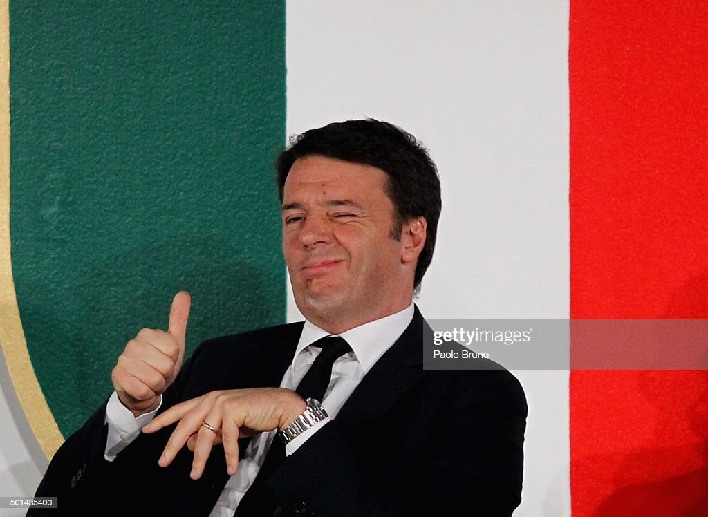 Italian Prime Minister <a gi-track='captionPersonalityLinkClicked' href=/galleries/search?phrase=Matteo+Renzi&family=editorial&specificpeople=6689301 ng-click='$event.stopPropagation()'>Matteo Renzi</a> reacts during the Italian Olympic Commitee 'Collari d'Oro' Awards ceremony on December 15, 2015 in Rome, Italy.