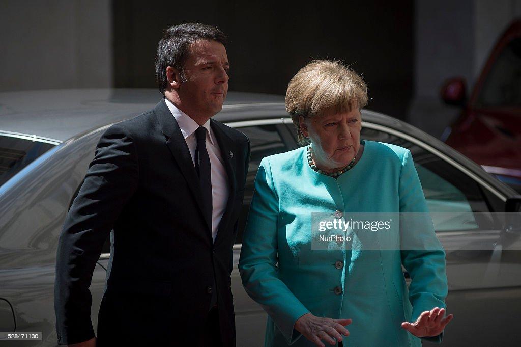 Italian Prime Minister Matteo Renzi receives German Chancellor Angela Merkel at Rome's Palazzo Chigi, Italy on May 5, 2016.