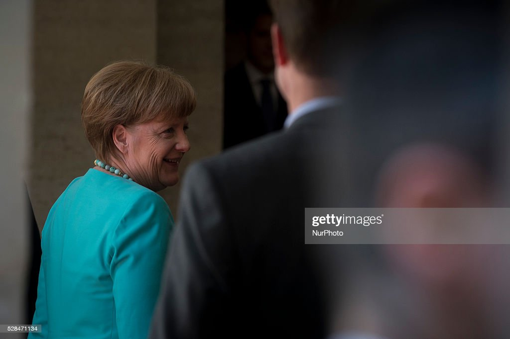 Italian Prime Minister Matteo Renzi receives German Chancellor <a gi-track='captionPersonalityLinkClicked' href=/galleries/search?phrase=Angela+Merkel&family=editorial&specificpeople=202161 ng-click='$event.stopPropagation()'>Angela Merkel</a> at Rome's Palazzo Chigi, Italy on May 5, 2016.