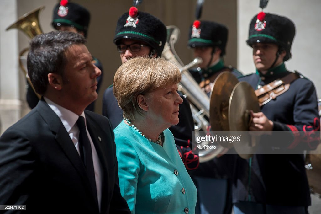 Italian Prime Minister <a gi-track='captionPersonalityLinkClicked' href=/galleries/search?phrase=Matteo+Renzi&family=editorial&specificpeople=6689301 ng-click='$event.stopPropagation()'>Matteo Renzi</a> receives German Chancellor <a gi-track='captionPersonalityLinkClicked' href=/galleries/search?phrase=Angela+Merkel&family=editorial&specificpeople=202161 ng-click='$event.stopPropagation()'>Angela Merkel</a> at Rome's Palazzo Chigi, Italy on May 5, 2016.