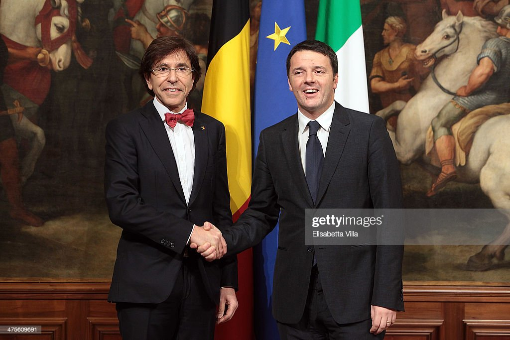 Italian Prime Minister <a gi-track='captionPersonalityLinkClicked' href=/galleries/search?phrase=Matteo+Renzi&family=editorial&specificpeople=6689301 ng-click='$event.stopPropagation()'>Matteo Renzi</a> (R) shakes hands with Belgian Prime Minister <a gi-track='captionPersonalityLinkClicked' href=/galleries/search?phrase=Elio+Di+Rupo&family=editorial&specificpeople=743705 ng-click='$event.stopPropagation()'>Elio Di Rupo</a> during a meeting at Palazzo Chigi on February 28, 2014 in Rome, Italy. The 39-year-old Renzi has promised a reform a month until June, including employment law, bureaucracy and taxation.