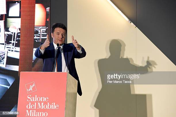 Italian Prime Minister Matteo Renzi speaks at the awards ceremony of the international competition of the Salone Satellite in 2016 during 55th Salone...