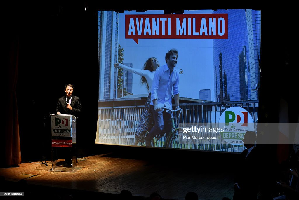Italian Prime Minister <a gi-track='captionPersonalityLinkClicked' href=/galleries/search?phrase=Matteo+Renzi&family=editorial&specificpeople=6689301 ng-click='$event.stopPropagation()'>Matteo Renzi</a> speaks during a rally in support of Democratic candidate for mayor of Milan, Giuseppe Sala, on May 31, 2016 in Milan, Italy. The Milan mayoral elections are due to take place on June 5, 2016.