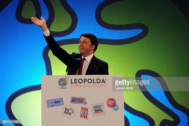 Italian Prime Minister Matteo Renzi speaks during the meeting of the Leopolda 2015 on December 13 2015 in Florence Italy The Leopolda an annual...