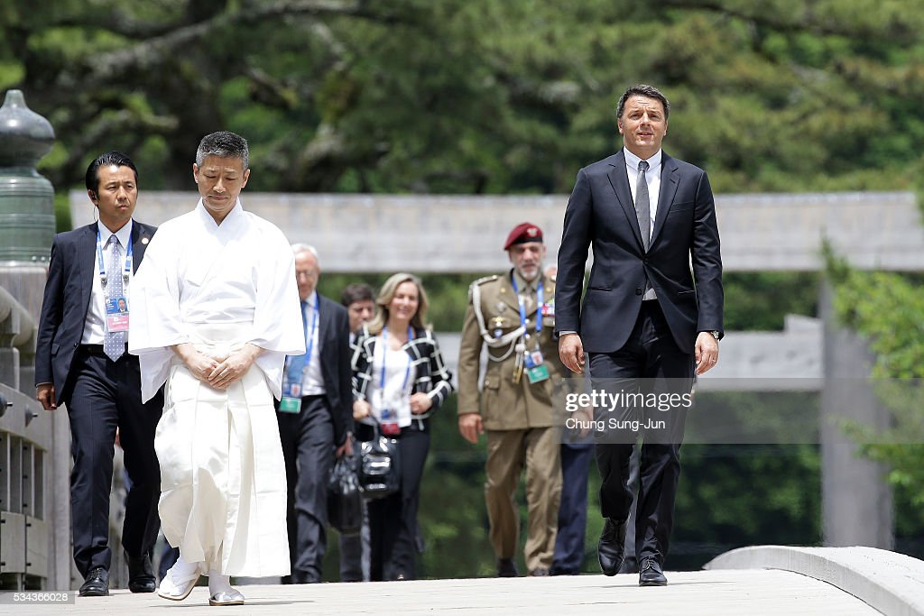 Italian Prime Minister <a gi-track='captionPersonalityLinkClicked' href=/galleries/search?phrase=Matteo+Renzi&family=editorial&specificpeople=6689301 ng-click='$event.stopPropagation()'>Matteo Renzi</a> walks on the Ujibashi bridge as he visits at the Ise-Jingu Shrine on May 26, 2016 in Ise, Japan. In the two-day summit, the G7 leaders are scheduled to discuss global issues including counter-terrorism, energy policy, and sustainable development.
