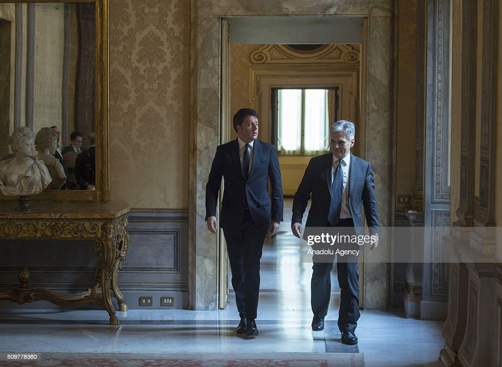 Italian Prime Minister Matteo Renzi (L) welcomes Austrian Chancellor Werner Faymann at the Palazzo Chigi in Rome, Italy on February 12, 2016. (Photo by Tiberio Barchielli / Italian Prime Ministry (Palazzo Chigi)/Anadolu Agency/Getty Images)