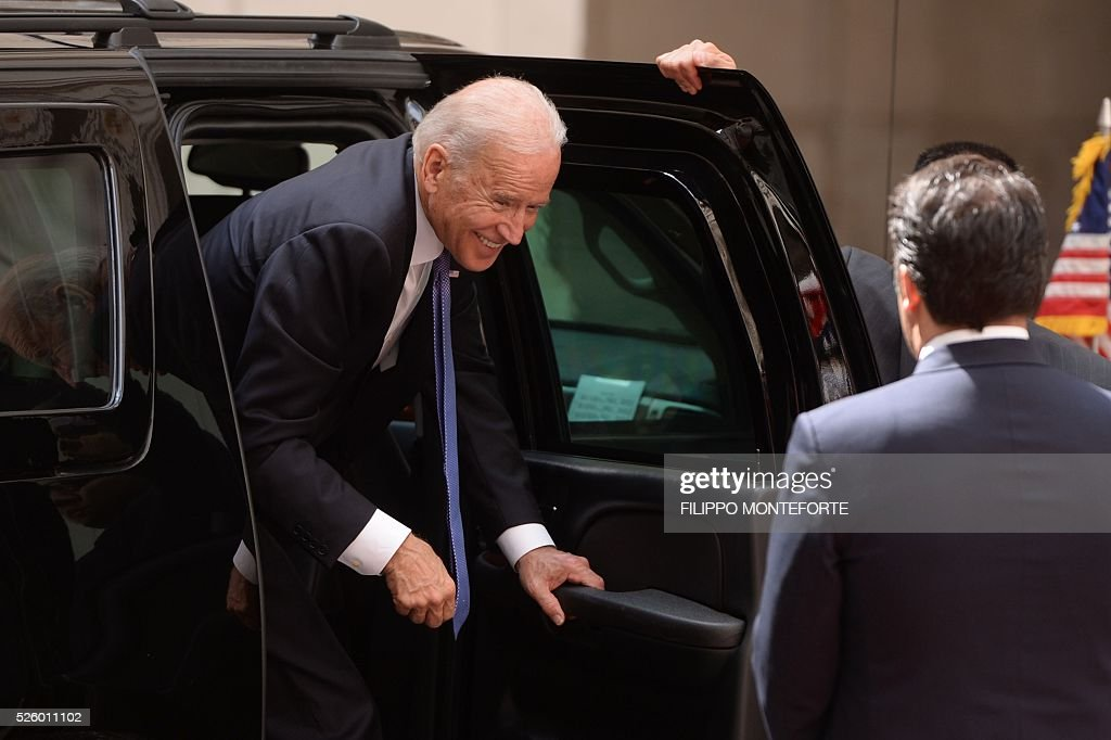 Italian Prime Minister Matteo Renzi (R) welcomes US Vice-President Joe Biden prior their meeting on April 29, 2016 at the Palazzo Chigi in Rome. Earlier today, Biden, whose 46-year old son Beau Biden died from brain cancer last year, made an emotional speech at a stem cell summit thanking Pope Francis for his support and for counselling his family during his visit to the United States.