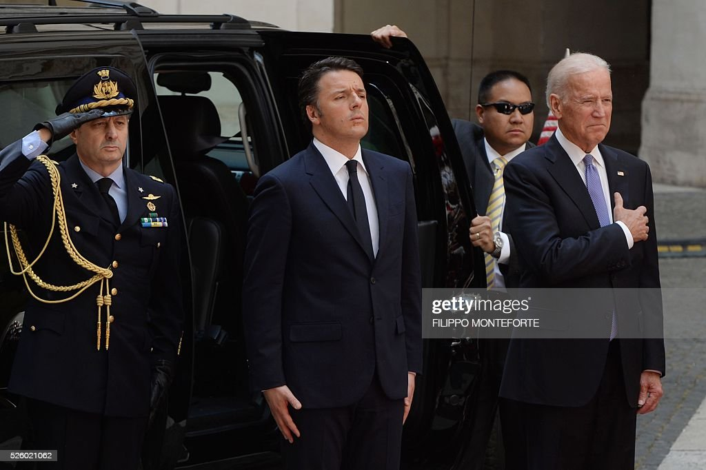 Italian Prime Minister Matteo Renzi (C) welcomes US Vice-President Joe Biden (R) prior their meeting on April 29, 2016 at the Palazzo Chigi in Rome. Earlier today, Biden, whose 46-year old son Beau Biden died from brain cancer last year, made an emotional speech at a stem cell summit thanking Pope Francis for his support and for counselling his family during his visit to the United States.