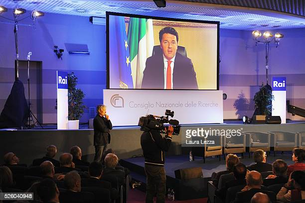 Italian Prime Minister Matteo Renzi who was expected at the celebration of the anniversary of Internet in Italy speaks in skype link at the CNR of...
