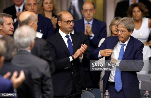 Italian Prime Minister Paolo Gentiloni and Italy's Foreign Minister Angelino Alfano attend the Conference of Ambassadors at the Farnesina Italian...