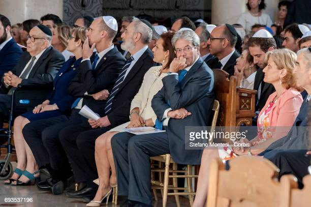 Italian Prime Minister Paolo Gentiloni attends 50th anniversary Celebration of the exodus of the Jews of Libya at the Great Synagogue of Rome on June...