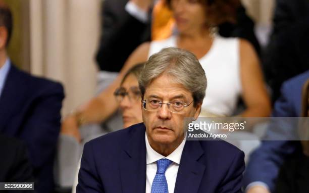 Italian Prime Minister Paolo Gentiloni attends the Conference of Ambassadors at the Farnesina Italian Foreign Ministry headquarters in Rome Italy on...