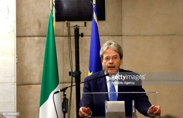 Italian Prime Minister Paolo Gentiloni delivers a speech during the Conference of Ambassadors at the Farnesina Italian Foreign Ministry headquarters...