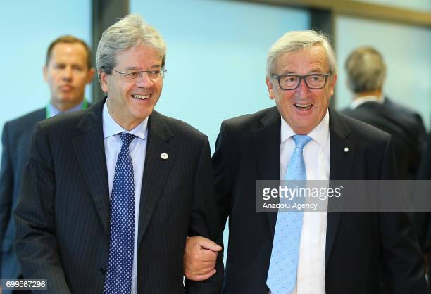 Italian Prime Minister Paolo Gentiloni meets President of the European Commission JeanClaude Juncker in Brussels Belgium on June 22 2017