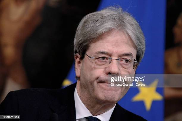 Italian Prime Minister Paolo Gentiloni releases statements to the press on the situation in Syria urging a negotiated solution on April 07 2017 in...