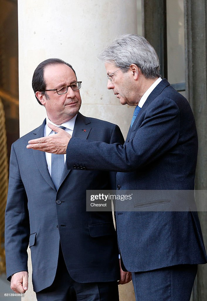 French President Francois Hollande receives Italian Prime Minister Paolo Gentiloni at the Elysee Palace