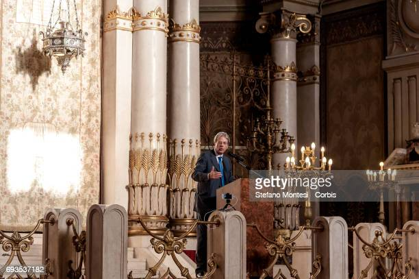 Italian Prime Minister Paolo Gentiloni speaks at the 50th anniversary Celebration of the exodus of the Jews of Libya at the Great Synagogue of Rome...