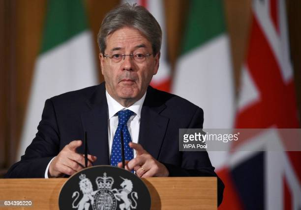 Italian Prime Minister Paolo Gentiloni speaks during a press conference with British Prime Minister Theresa May at No10 Downing street London United...