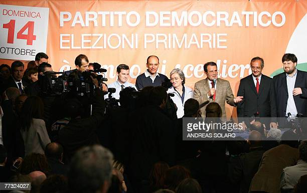 Italian Prime Minister Romano Prodi speaks to media press flanked by candidate to lead the new Democratic Party Rome's Mayor Walter Veltroni Mario...