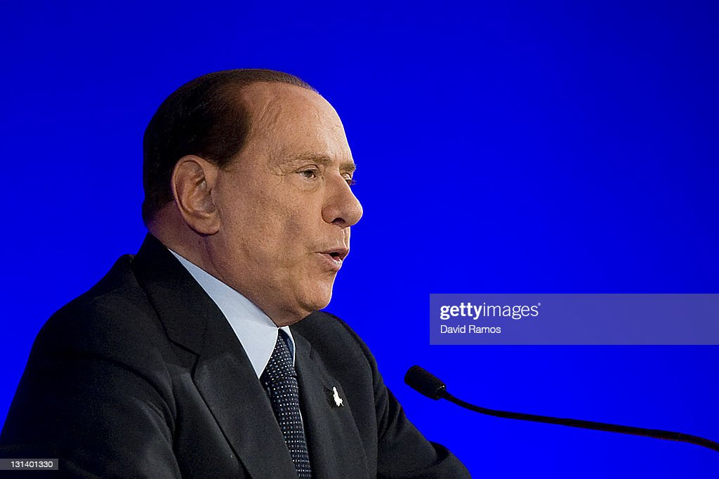 Italian Prime Minister <a gi-track='captionPersonalityLinkClicked' href=/galleries/search?phrase=Silvio+Berlusconi&family=editorial&specificpeople=201842 ng-click='$event.stopPropagation()'>Silvio Berlusconi</a> addresses a press conference during the second day of the G20 Summit on November 4, 2011 in Cannes, France. The world's top economic leaders are attending the G20 summit in Cannes on November 3rd and 4th, and are expected to debate current issues surrounding the global financial system in the hope of fending off a global recession and finding an answer to the Eurozone crisis.