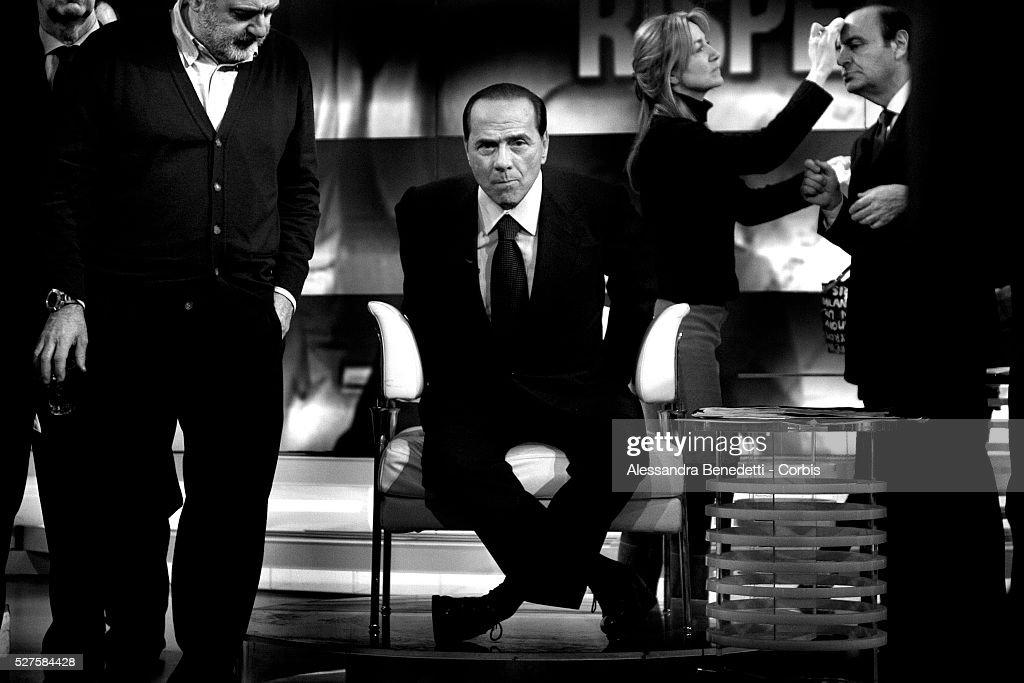 Italian Prime Minister Silvio Berlusconi Adjusts His Microphone Picture Francesca Pascale Ac Milan Zenit