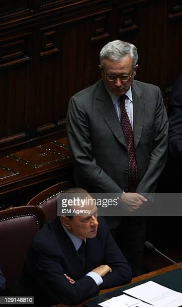Italian Prime Minister Silvio Berlusconi and Finance Minister Giulio Tremonti attend session of Italian Chamber of Deputies at Palazzo Montecitorio...