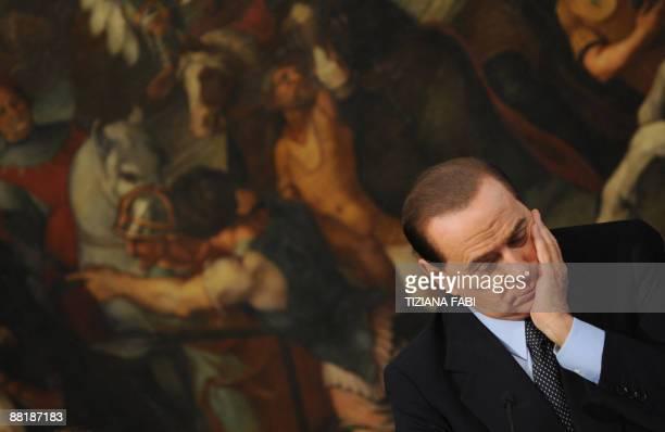 Italian Prime Minister Silvio Berlusconi and minister for tourism Michel Vittoria Brambilla give a joint press conference during a press conference...