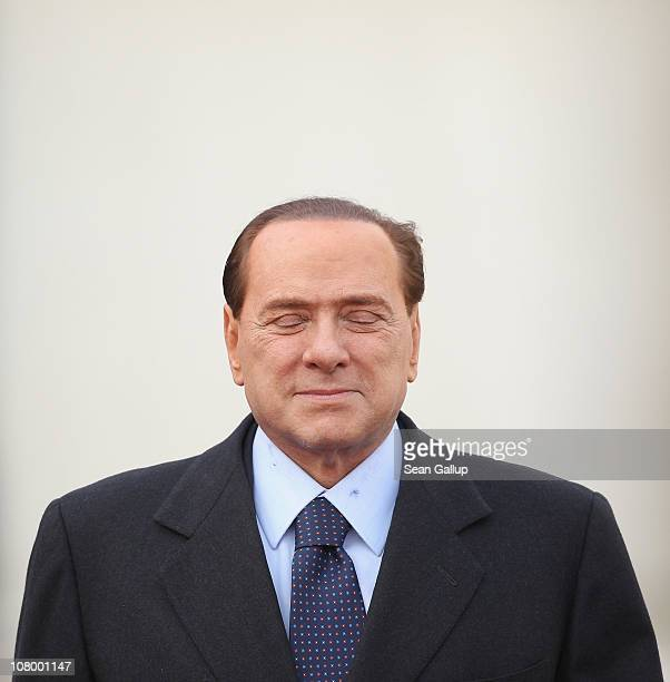 Italian Prime Minister Silvio Berlusconi arrives at the Chancellery to meet with German Chancellor Angela Merkel on January 12 2011 in Berlin Germany...