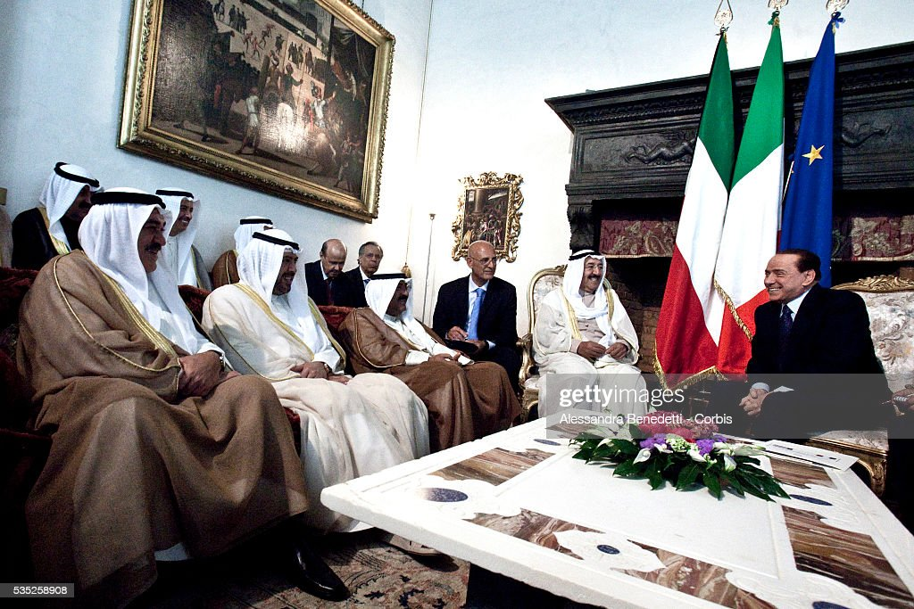 Italian Prime Minister Silvio Berlusconi attends a meeting with Emir of Kuwait Sheikh Sabah AlAhmad AlJaber at Villa Madama