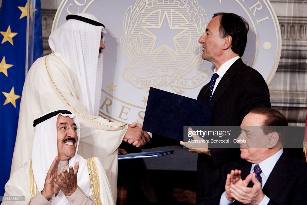 Italian Prime Minister Silvio Berlusconi attends a meeting with Emir of Kuwait Sheikh Sabah AlAhmad AlJaber at Villa MadamaBehind them italian...