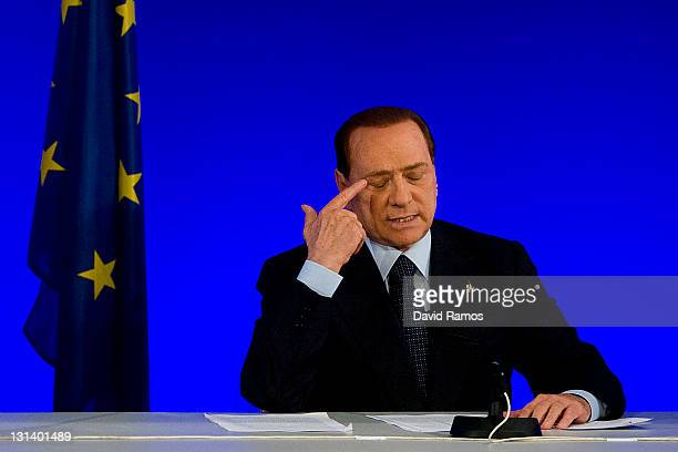 Italian Prime Minister Silvio Berlusconi attends a press conference during the second day of the G20 Summit on November 4 2011 in Cannes France The...