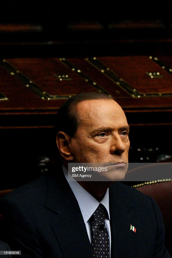 Italian Prime Minister <a gi-track='captionPersonalityLinkClicked' href=/galleries/search?phrase=Silvio+Berlusconi&family=editorial&specificpeople=201842 ng-click='$event.stopPropagation()'>Silvio Berlusconi</a> attends a vote at the Chamber of Deputies on November 8, 2011 in Rome, Italy. Mr. Berlusconi is today facing his 54th vote of confidence in parliament since his election as Prime Minister in 2008. Pressure is mounting on the Italian PM amidst fears that Italy could become the next victim of the eurozone debt crisis with the government's borrowing costs rising to a new record of 6.74% on Tuesday.