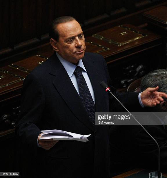 Italian Prime Minister Silvio Berlusconi attends session of Italian Chamber of Deputies at Palazzo Montecitorio on October 13 2011 in Rome Italy The...