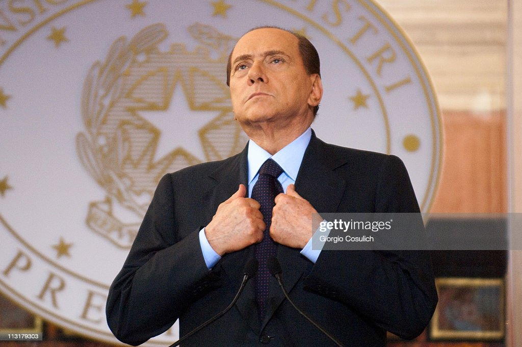 Italian Prime Minister <a gi-track='captionPersonalityLinkClicked' href=/galleries/search?phrase=Silvio+Berlusconi&family=editorial&specificpeople=201842 ng-click='$event.stopPropagation()'>Silvio Berlusconi</a> attends the Italy-France Summit with French President Nicolas Sarkozy at Villa Madama on April 26, 2011 in Rome, Italy. The two leaders discussed the immigration crisis and the possible opening of nuclear power plants among other topics during the Italy-France summit.