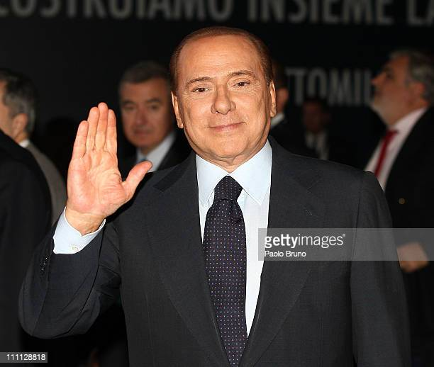 Italian Prime Minister Silvio Berlusconi attends the meeting to unveil the City of Rome's projects for the 2020 Olympic Games bid on February 23 2011...
