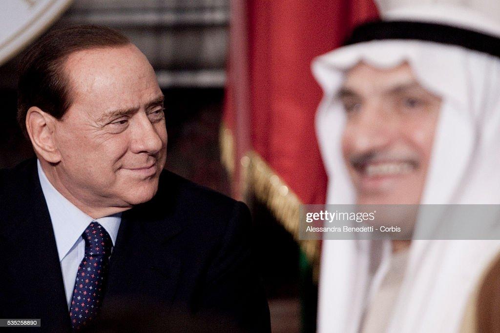 Italian Prime Minister Silvio Berlusconi during a meeting with Emir of Kuwait Sheikh Sabah AlAhmad AlJaber at Villa Madama