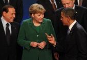 Italian Prime Minister Silvio Berlusconi German Chancellor Angela Merkel USPresident Barack Obama and Turkish Prime Minister Tayyip Erdogan share a...