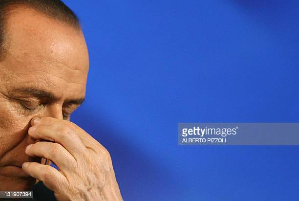 Italian Prime minister Silvio Berlusconi is pictured during the annual congress of the European People's Party 30 March 2006 in Rome European...