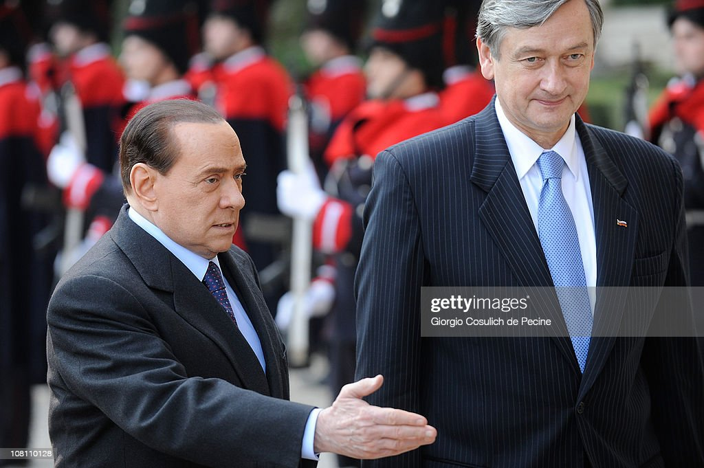 Italian Prime Minister <a gi-track='captionPersonalityLinkClicked' href=/galleries/search?phrase=Silvio+Berlusconi&family=editorial&specificpeople=201842 ng-click='$event.stopPropagation()'>Silvio Berlusconi</a> (L) meets with President of Slovenian Republic, Danilo Turk (R) in Villa Madama, on January 18, 2011 in Rome, Italy. This is Berlusconi's first official engagement since the controversy regarding the allegations of sexual relations with an underage girl.