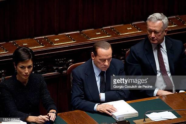 Italian Prime Minister Silvio Berlusconi Minister for Equal Oppurtunities Mara Carfagna and Economy Minister Giulio Tremonti attend the vote for the...