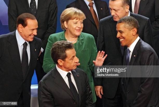 Italian Prime Minister Silvio Berlusconi Nicolas Sarkozy German Chancellor Angela Merkel Turkish Prime Minister Tayyip Erdogan USPresident Barack...